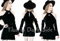 RESTYLE Crescent Moon Cold Shoulder Black Velvet Nu Goth Short Mini Dress