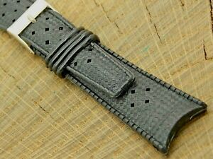 Vintage NOS Unused Tropic Type Watch Band Rubber Strap w Silver Tone Buckle 22mm