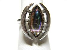 Iridescent Glass Stone in Silver Tone Ring Adjustable Vintage