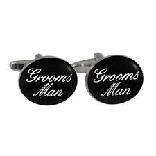 Grooms Man Black Oval Cufflinks groomsman groom wedding role family New & Boxed