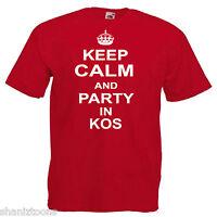 Keep Calm Party Kos Adults Mens T Shirt 12 Colours Size S - 3XL
