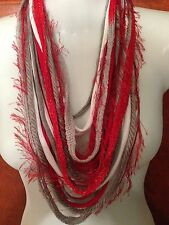 New Amish Hand Made Scarf Ohio State Scarlet/Gray/Wht  Colors