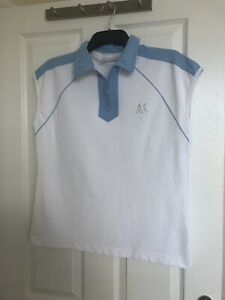 Masters Golf Blue and white sleeveless top with zip neck EU 42