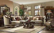Homey Design HD-1623 Traditional Beige Living Room Sofa and Loveseat Set 2Pcs