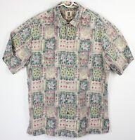 Tori Richard Men Large Floral Geometric Short Sleeve Aloha Shirt Cotton Lawn EUC