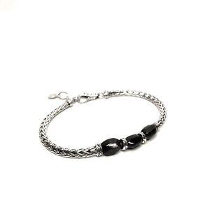 JOHN HARDY Womens .925 Silver Onyx Stone Slim Tennis Bracelet (MSRP $495)