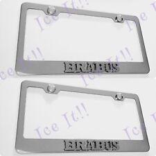 2X 3D BRABUS Emblem MERCEDES Stainless Steel License Plate Frame