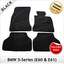 BMW 5-Series E60 E61 2003-2010 Velcro Pads Tailored LUX 1300g Carpet Mats BLACK