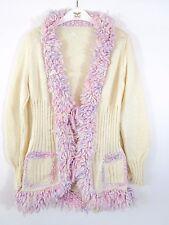 VTG Chunky Hand Knit Cardigan Mums Handmade Winter Wool Fringe Trim Ivory BC28