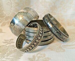Mixed Lot 4 Vintage Silver Tone Boho Style Intricate Cuff Bangle Bracelets