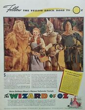 1939 Wizard of Oz Movie Release Judy Garland Photo Promotional Poster Print Ad