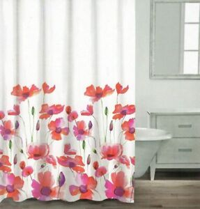 Caro Home Shower Curtain  Poppy/ Red 72 x 72 Iinches