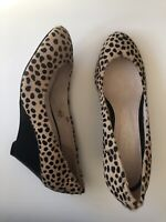New WITCHERY Womens Leopard Print Pony Hair High Heeled Wedge Shoes - Size 36