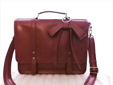 "New Red Burgundy Ecosusi Laptop Bag 17"" Briefcase Notary Travel Tote Bow Front"