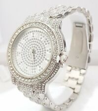 Iced Out Pave Silver Tone Hip Hop Men's Bling Bling Silver Metal Band Watch Watc