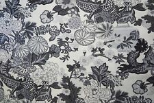 SCHUMACHER CURTAIN FABRIC DESIGN Chiang Mai Dragon 3.6 METRE SMOKE 100%  LINEN
