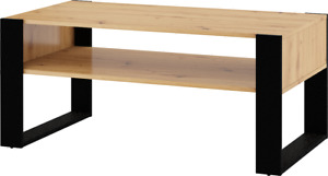 Coffee table nuka f 110 x 60 cm artisan oak and black feet