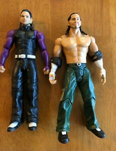 WWE Matt & Jeff Hardy Wrestling Action Figures (Pre-owned). Includes elbow pads.