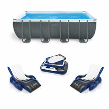 Intex 18ft x 9ft x 52in Ultra Xtr Rectangular Pool, Floats (2 Pack), and Cooler