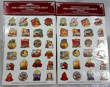 Retro 1930's CHRISTMAS STICKERS - 48 Embossed NEW For Cards Scrapbooks Vintage