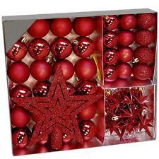 Coffret Boules de Noël 45 Pièces - Rouge - Pour Décoration Sapin de Noel