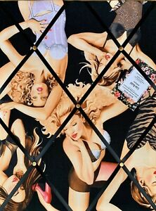 Alexander Henry Boudoir Lingerie Pin Up Handcrafted Fabric Notice Pin Memo Board