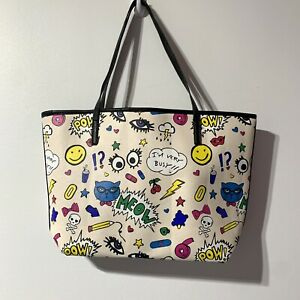 LUV Betsey Johnson Tote purse cartoon Bag carrie pow meow cat shoulder Very Busy