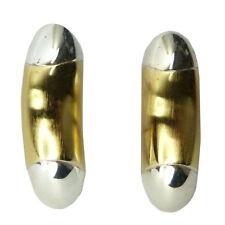 Boucles d'oreilles plaqué or doré brossé argenté dormeuse moderne géométrique