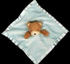 Dollar General Blue Tan Teddy Bear Blanket Lovey Security Baby Rattle