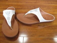 d80a63d3bfebd NEW FitFlop Banda II Thong Sandals w  Crystals WOMENS 11 White Leather  120.