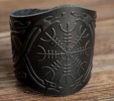 Handmade Leather Bracelet Cuff Wristband Aegishjalmur Helm of Awe