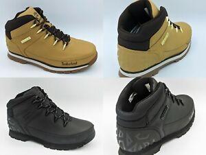 Boys TIMBERLAND Euro Sprint Boots Tectuff Leather Kids New Wheat Black Sale 7-6