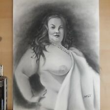 Original 18x24 Inch Charcoal Drawing Of Nude BBW Woman Done By ARTuro