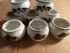 New listing Lot of 8 Cades Cove Napkin Rings Holders Ceramic - Apple Blossoms Cherries