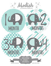 FREE GIFT, Monthly Baby Stickers, Elephants, Teal, Gray, Grey, Gender Neutral