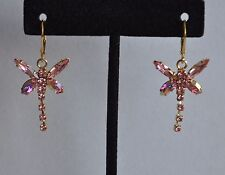 KIRKS FOLLY DRAGONFLY  EARRINGS PINK   CRYSTAL IN GOLD   TONE