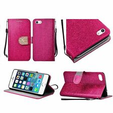 For Apple Iphone SE Iphone 5 5S PU Leather Bling Flip Wallet Credit Card - Pink