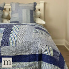 Double / King Size Bedspread 3 Piece Set Throw Blue Modern Striped Throw