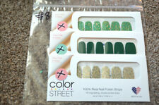 NEW Lot (3) RETIRED Color Street Sets SOLID GLITTER- Green Gold