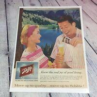 Vtg 1959 SCHLITZ Beer Genuine Magazine Advertisement Paper Print Ad / Milwaukee