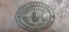 Antique brass safe plaque box argentina 1940