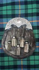 Men's Kilt Sporran Seal Skin Irish Shamrock Cantle Antique/Scottish Kilt Sporran