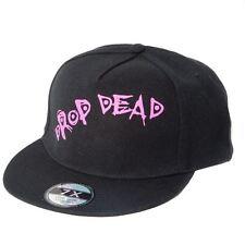 Black Snapback Flatbill Cap with 'Drop Dead' Design