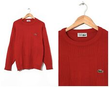 80s Vintage Mens LACOSTE Sweater Jumper Knitted Red Size M