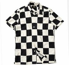RRL Ralph Lauren Antique Cream Black Vintage Patchwork Cotton Shirt-MEN- XXL