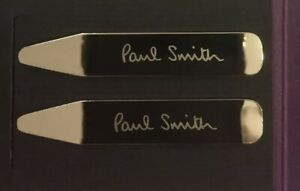 Paul Smith London Engraved Metal Collar Stays Bones Stiffeners - One Pair - New