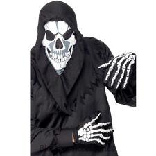 A785 Skeleton Grim Reaper Skull Halloween Instant Horror Costume Kit Hood Gloves