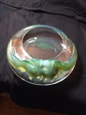 "Lalique Crystal ""Yeso""  Bowl Applied Green Fish MINT Condition."