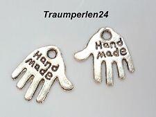 HANDMADE Label Etiketten Anhänger Silber Aufnäher 20 Stück Schild Handgemacht