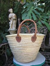 'French' Market Basket Hand Made in Morocco Large with soft leather handles